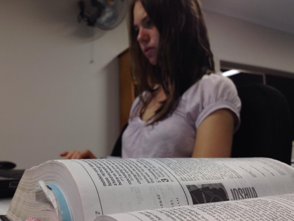 Julia studying